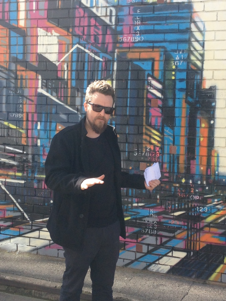 Thom Buchanan discussing his street art work commissioned for the Street Art Explosion project.