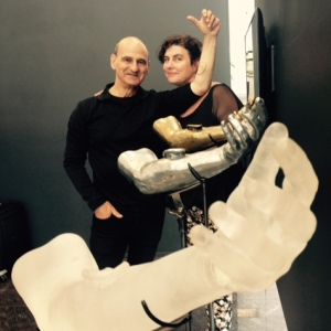 Stelarc with Julianne Pierce at the Australia Council Awards exhibition.
